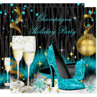 Champagne Holiday Party Teal Blue High Heels Card