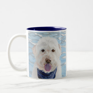 Champagne Labradoodle with water mug. Two-Tone Coffee Mug