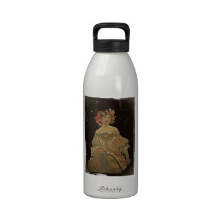 Champagne Lady with a Book Drinking Bottles
