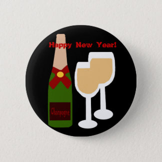 Champagne n glass, Happy New Year! button