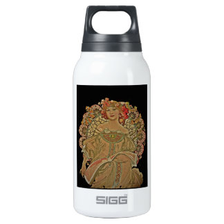 Champagne on Black Insulated Water Bottle