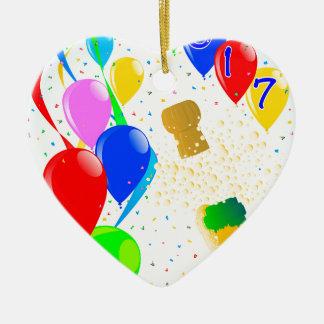 Champagne Party 2017 Ceramic Heart Ornament