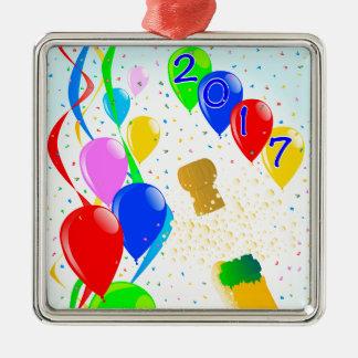 Champagne Party 2017 Silver-Colored Square Ornament