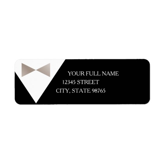 Champagne Pearl & Black Tux Return Address Labels