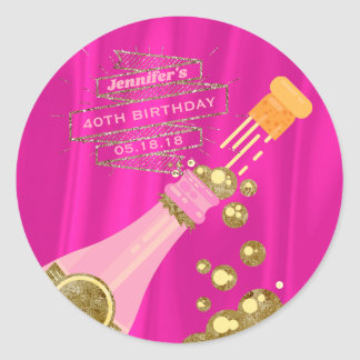 Champagne Pink Gold Elegant Birthday Party Favor Classic Round Sticker