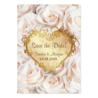 Champagne Pink Rose Floral Wedding Save the Date Business Card Templates