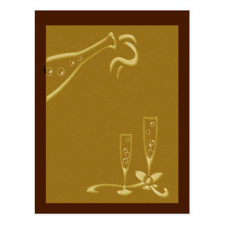 champagne red and gold postcard