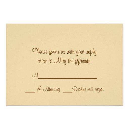 Champagne Roses Formal Wedding RSVP Card