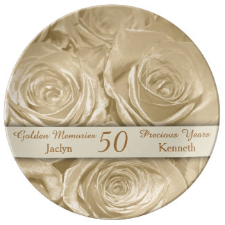 Champagne Roses Memories Golden Anniversary Plate