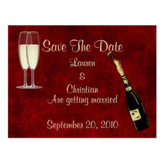 Champagne Save The Date Postcard