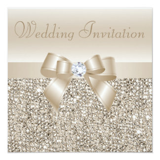 Champagne Sequins, Bow & Diamond Wedding Card