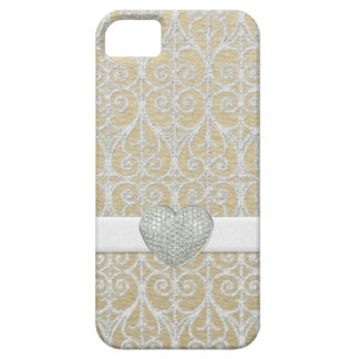 Champagne Silver, Faux Diamond Pave Heart Ribbon iPhone 5 Covers
