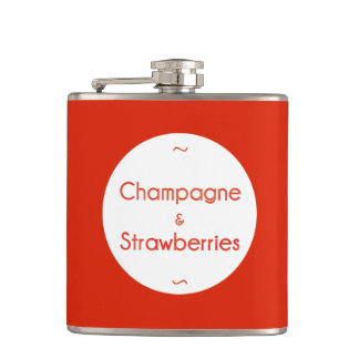 Champagne & Strawberries Hip Flask