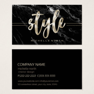Champagne Style Black Marble ID354 Business Card