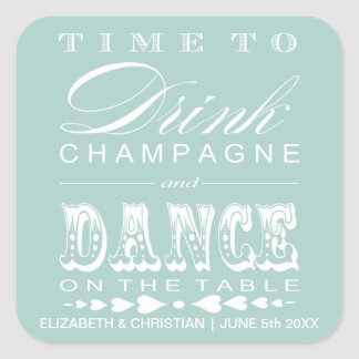 Champagne Theater Bill Wedding Favor Sticker