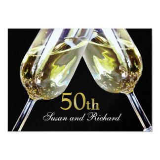"Champagne Toast/ 50th Anniversary 5"" X 7"" Invitation Card"