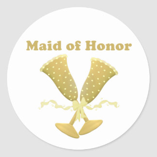 Champagne Toast Maid of Honor Gift Classic Round Sticker