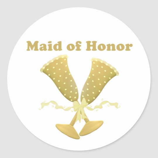 Champagne Toast Maid of Honour Gift Classic Round Sticker