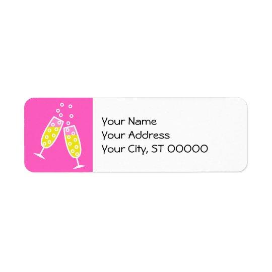 Champagne Toast - pink Return Address Label