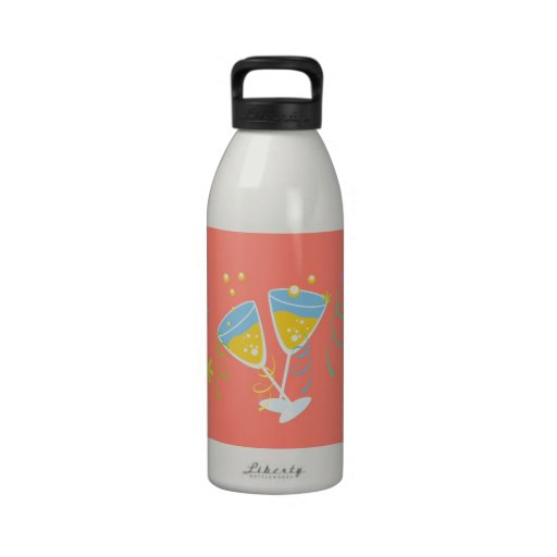 Champagne Toast. Retro Birthday Party Pink Vintage Drinking Bottle