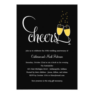Champagne Toast Wedding Anniversary Invitation Announcement