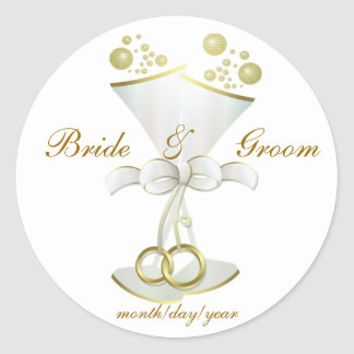 Champagne Toasts Classic Round Sticker