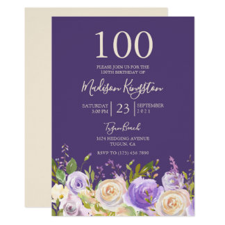 Champagne White Rose Purple 100th Birthday Party Card