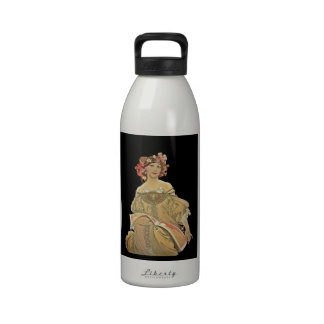 Champagne Woman Reading by Mucha Drinking Bottle