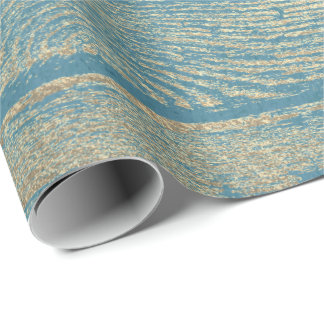 Champaign Gold Wood Shabby Blue Pastel Wrapping Paper
