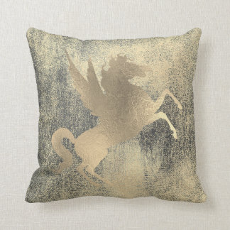 Champaign Grungy Black Gold Horse Painting Throw Pillow