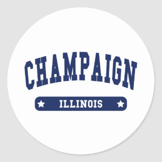 Champaign Illinois College Style tee shirts Classic Round Sticker