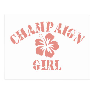 Champaign Pink Girl Postcard