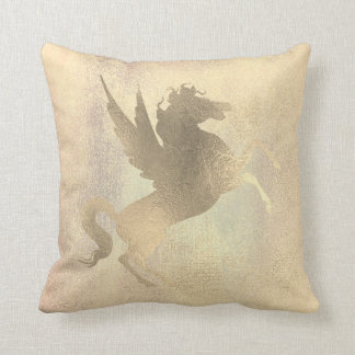 Champaign Sparkly Foxier Gold Horse Painting Throw Pillow