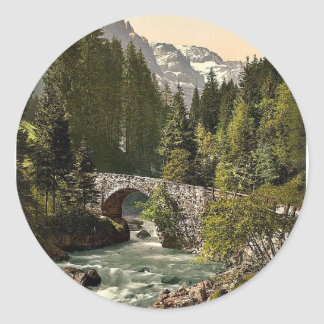 Champery, Moulins Bridge and Dent du Midi on the R Classic Round Sticker