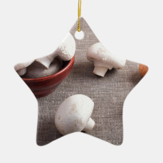 Champignon mushrooms and onions on the table ceramic star ornament