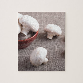 Champignon mushrooms and onions on the table jigsaw puzzle