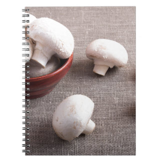 Champignon mushrooms and onions on the table notebook