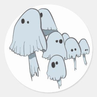Champignons de fantôme autocollant rond