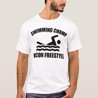Champion de natation de style libre de lard t-shirt