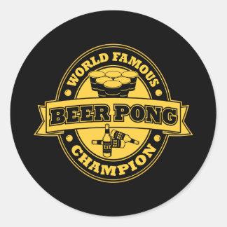 Champion de puanteur de bière autocollant rond