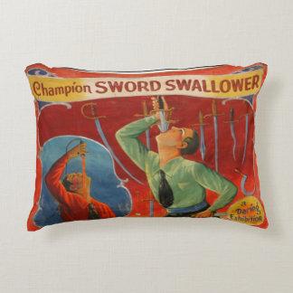 Champion Sword Swallower Decorative Pillow