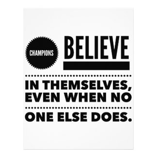 Champions Believe In Themselves, Even When No One Letterhead Template