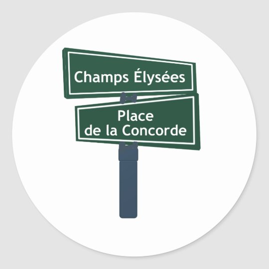 Champs Elysees Place de la Concorde Street Sign Classic Round Sticker