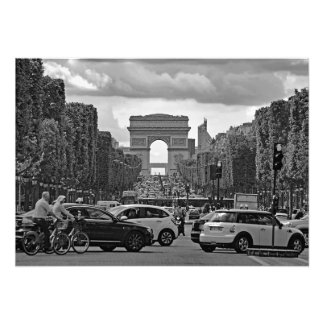 Champs Elysees. View of the Triumphal Arch. Photo Print