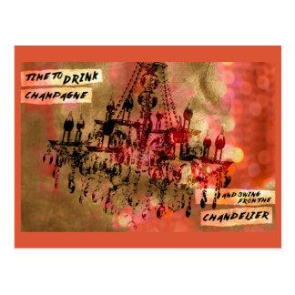 Chandelier Champagne Pink Postcard