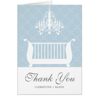 Chandelier Crib Baby Boy Shower Thank You Card