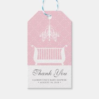 Chandelier Crib Baby Girl Shower Favor Tag