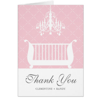 Chandelier Crib Baby Girl Shower Thank You Card