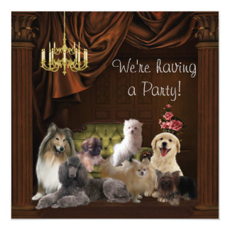 Chandelier Dogs Puppies Party Invitation Template