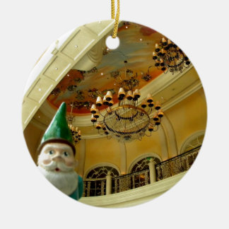 Chandelier Gnome Round Ceramic Ornament